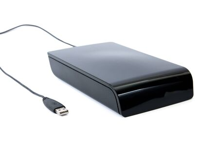external hard disk drive: Close up External Hard Disk black color isolate on white background.Big old external hard drive isolated