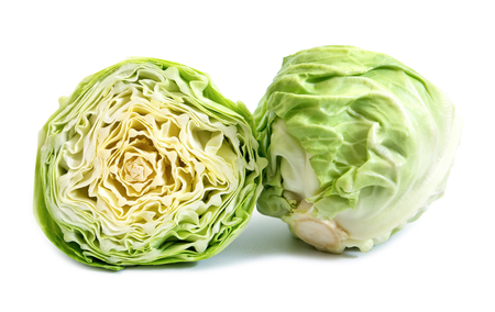 Cut cabbage on white background.Cabbage isolated