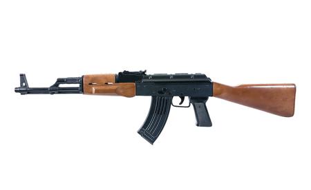 Handgun weapon - crime gun toy isolated on white.Rifle gun toy isolated.Gun toy isolated Stock Photo