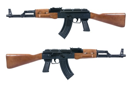 Handgun weapon - crime gun toy isolated on white.Two rifle gun toy isolated.Gun toy isolated