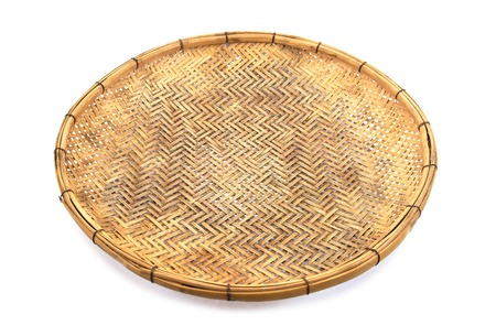 Bamboo basket hand made isolated on white background. Woven from bamboo tray.Bamboo tray isolated.Old bamboo tray isolated