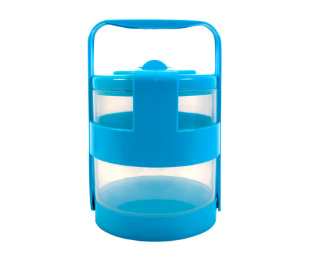 Food carrier blue On a white background.Food carrier isolated.Tiffin box isolated