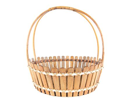 Bamboo basket hand made isolated on white background. Woven from bamboo tray.Bamboo basket isolated Stock Photo