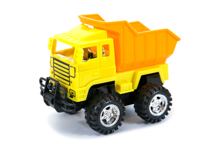 yellow pickup truck toy.Truck toy isolated