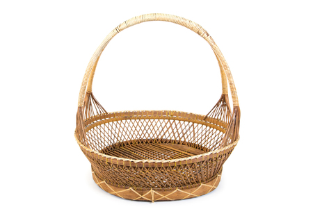 Bamboo basket  isolated on white background.Old bamboo basket isolated Stock Photo