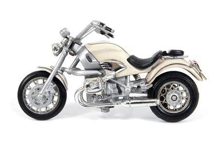 White toy motocycle isolated on white background.Motorcycle toy isolated