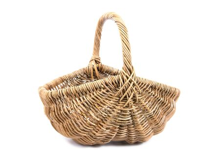 Wicker basket isolated on white background. Empty wicker basket illustration.Fruit basket isolated.Rattan basket isolated Stock Photo