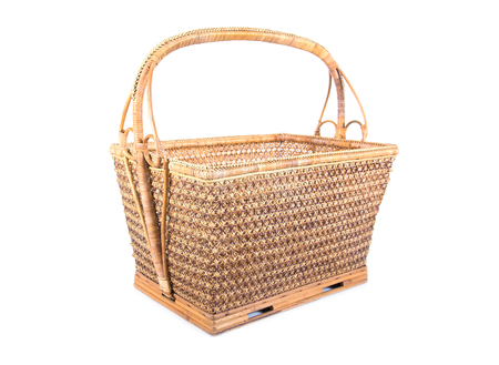 Wicker basket isolated on white background. Empty wicker basket illustration.Fruit basket isolated.Square rattan basket isolated Stock Photo