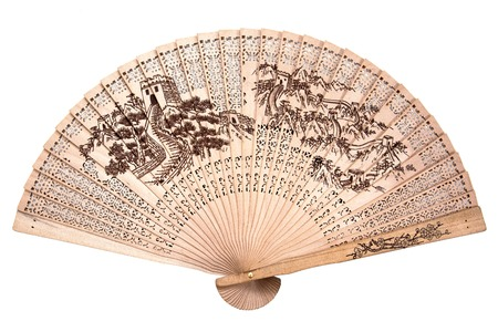 Chinese wood fan isolated on white background