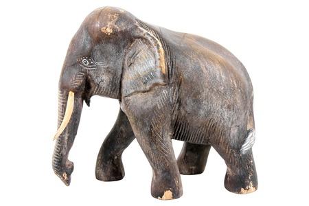 Elephant wood carving isolated on white background