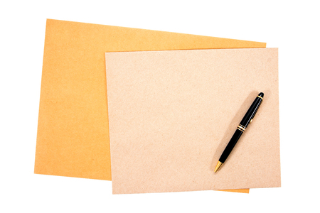 It is two brown document envelope with pen isolated on white background