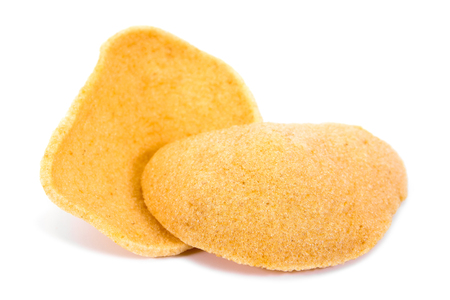 Prawn crackers isolated on white background. Stock Photo
