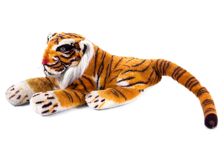 Tiger doll isolated on white background.Closeup of Bengal tiger doll isolated 스톡 콘텐츠