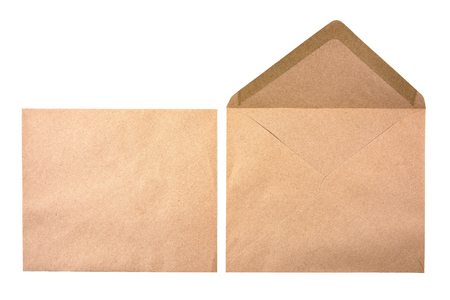 It is two brown document envelope isolated on white background.Brown document isolated