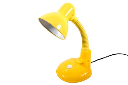 Desk lamp isolated on white background.Yellow desk lamp isolated Stock Photo