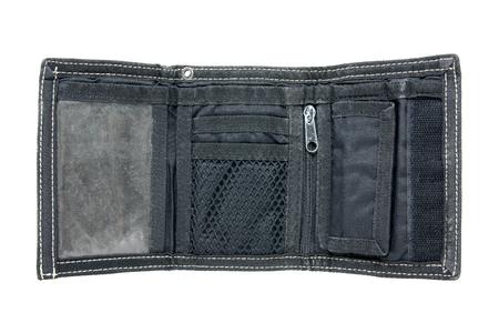 Opened black men wallet isolated on white background