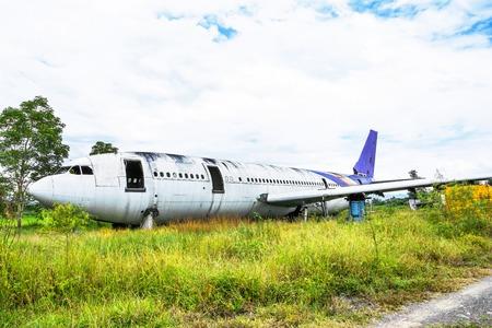 Abandoned Airplane Graveyard at grassland in Chiang mai,Thailand. Stockfoto