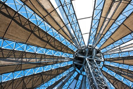 Greenhouse roof background. Metal and fabric greenhouse roof ceiling frame texture Stok Fotoğraf
