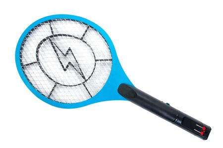 Electric mosquitoes killer tennis racket shape style isolated on white background. Rechargeable mosquito swatter bat isolated