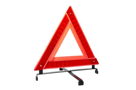 Traffic reflector light isolated on white background. Warning triangle reflective light isolated on white background.