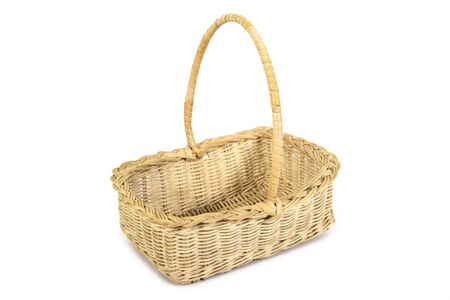 Weave bamboo and rattan wood tray basket with handle isolated on white background. Wicker wooden basket isolated