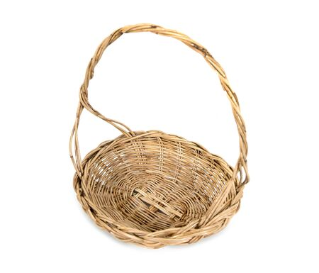 Top view weave rattan wood tray basket with handle isolated on white background. Wicker wooden basket isolated
