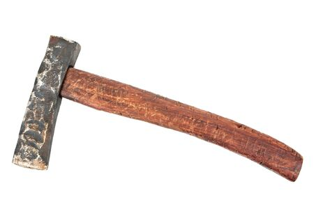 Old axe isolated on white background. Old art vintage ax isolated Banco de Imagens