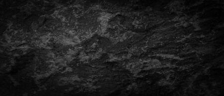 Panorama dark gray black slate pattern texture background. Panoramic dark gray black slate texture surface