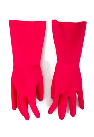 Rubber glove isolated on white background. Pair of red latex rubber glove isolated
