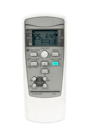 Telecomando del ricevitore del condizionatore d'aria isolato su priorità bassa bianca. Telecomando aria condizionata