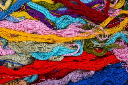 Colorful threads messy texture background. Mixed colorful thread tangle texture Stok Fotoğraf