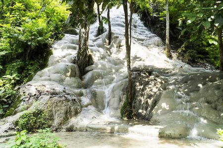 ฺBua Tong or Buatong Limestone waterfall in the jungle in Chiang Mai, Thailand. Limestone waterfall in the forest background