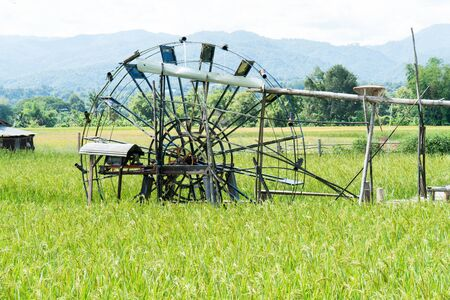 Water turbine with rice field background. Water vane or water wheel in rice field and wood pipe for agriculture with rural scene in thailand