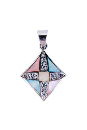 Gems and diamonds silver necklace pendant rhombus shape isolated on white