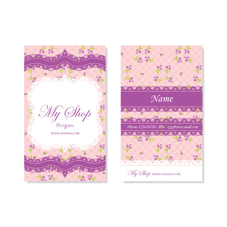 namecard: Pink namecard with purple flowers and lace Illustration