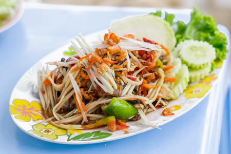 tam: Papaya Salad  Som Tam  - Thailand Food Stock Photo