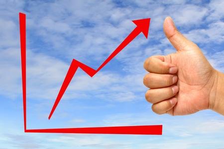 Graphe de la flèche rouge avec la main Banque d'images