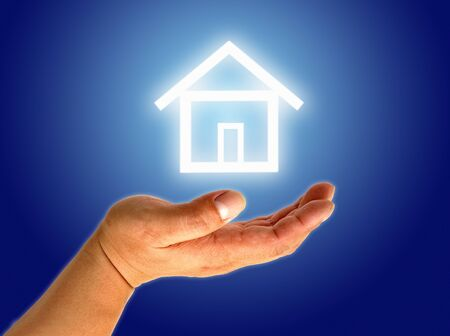 hand and icon house Stock Photo - 9652323