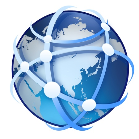 globe terrestre sur fond blanc