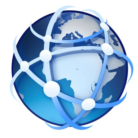 network map: earth globe on white background