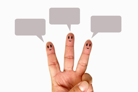 Finger smileys with speech bubbles Stock Photo - 9699270