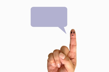 Finger smileys with speech bubbles photo
