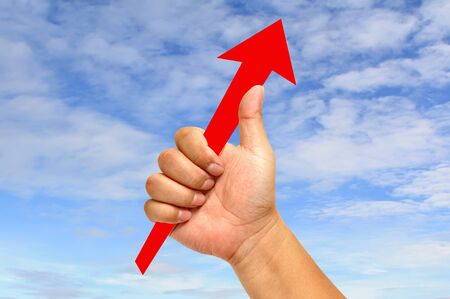 Red arrow with hand Stock Photo - 9699342
