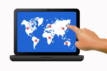 Hand holding laptop with social map Stock Photo - 9699303
