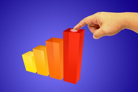 Colorful increasing bar graph - Hand holding Stock Photo - 9699297