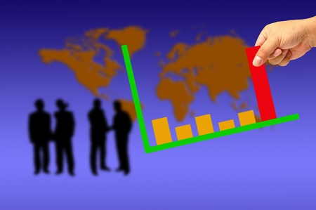 Colorful increasing bar graph - Hand holding and world background Stock Photo - 9841747