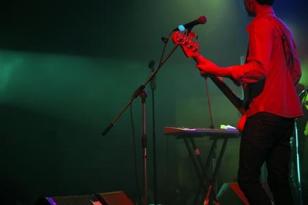live entertainment: chitarrista di una band pop con una chitarra