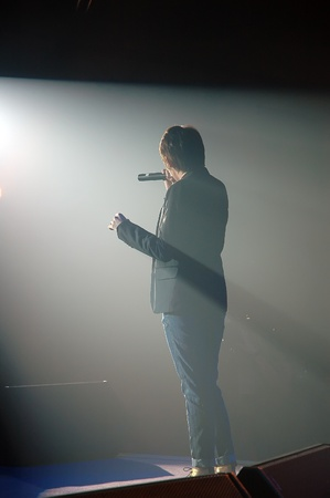 silhouette of a Singing man photo