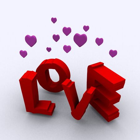 3D illustration of letters Love illustration