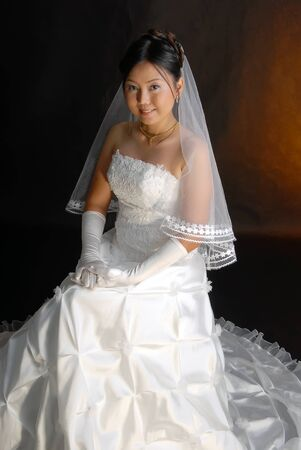 Thai women in wedding dresses  Stock Photo - 9845045